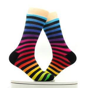 Custom Acrylic Womens Rainbow Stripe Knee Thigh High Socks