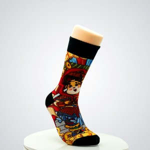 custom made logo crazy mens cartoon tube comics crew cotton happy fashion socks wholesale