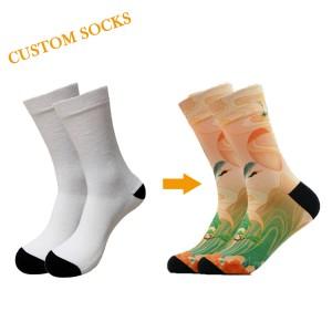 Custom Design Your Own Logo Men Crew Sports Socks Custom  Cotton Black Sock For Man