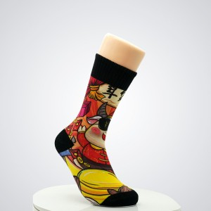 Wholesale custom logo high quality bamboo colorful 3D digital printed socks