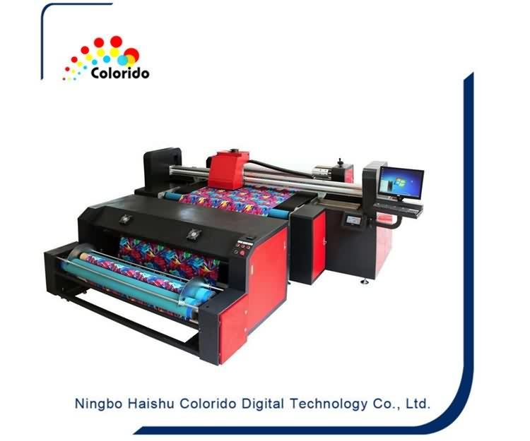 Industrial belt type textile fabric printer with starfire heads