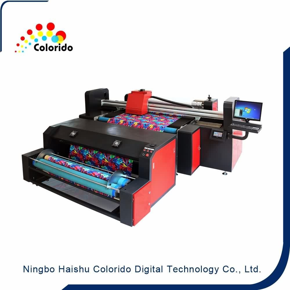 Multicolor direct to fabric printing, belt type digital inkjet textile printer