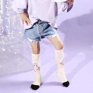 3D Young Girls Tube Socks Knee High, Socks Kids Girls
